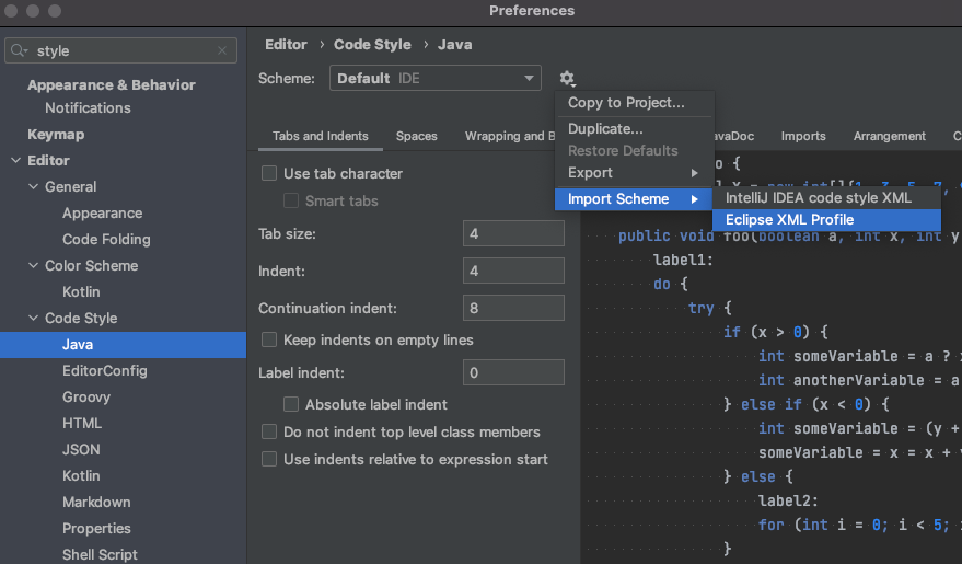 How to import a code style scheme from Eclipse into IntelliJ IDEA